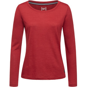 super.natural Essential Scoop Maglietta a maniche lunghe Donna, red dhalia melange